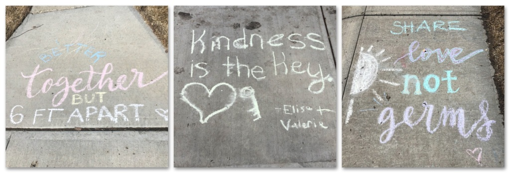 Chalk messages of kindness and hope