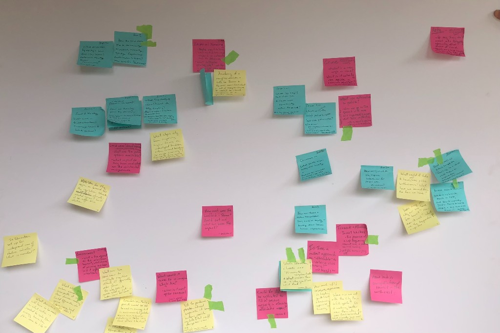 A photo of sticky notes from a recent feature story brainstorming session.